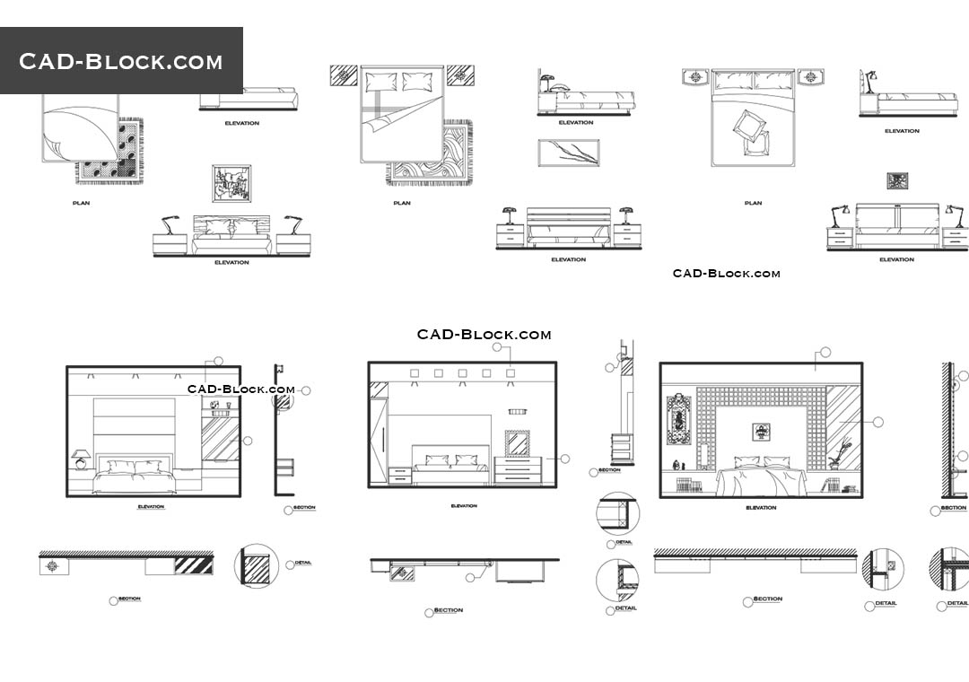 Bedroom CAD Blocks free download