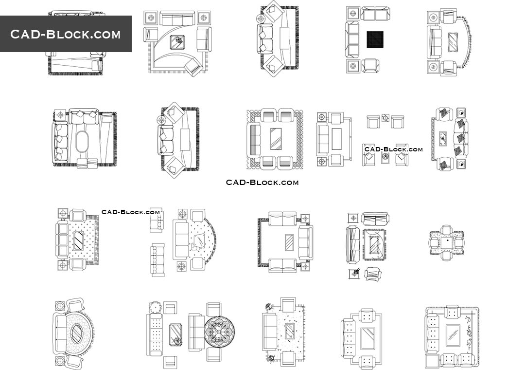 Living Room   CAD File In DWG Format. Modern Furniture Top View.