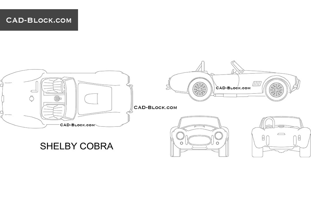 Shelby Cobra 1966 for free download. High-quality CAD Blocks in DWG format.