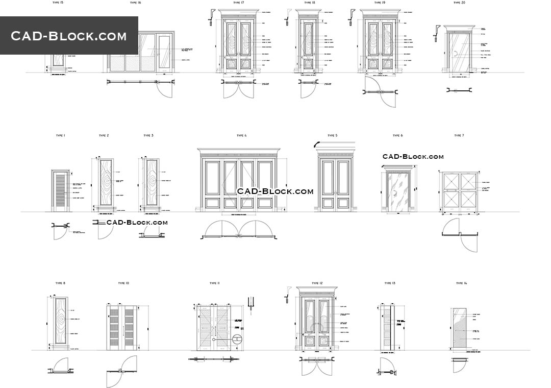 Doors - free CAD file  sc 1 st  CAD Blocks & Doors in plan CAD Blocks free download