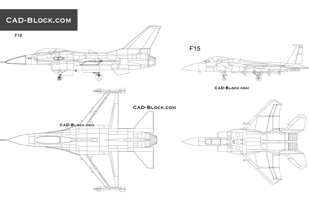 Fighters F16, F15 - CAD Blocks, AutoCAD file