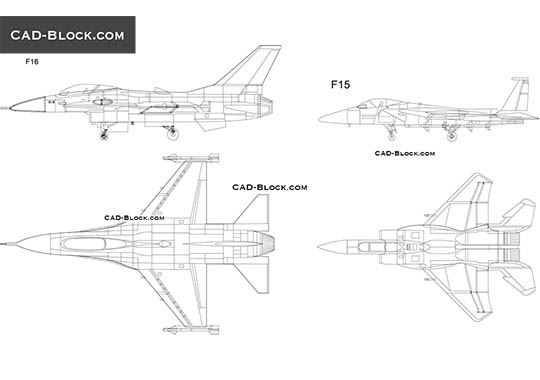 Fighters F16, F15 - download free CAD Block