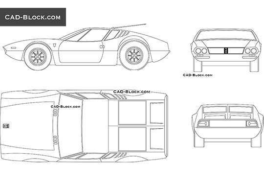 De Tomaso Mangusto - download free CAD Block