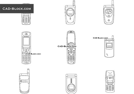 Cell Phones - download free CAD Block