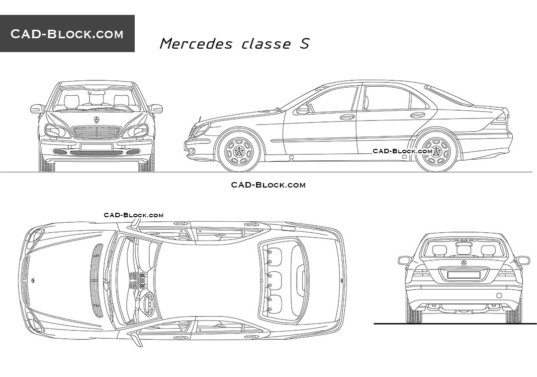 Mercedes s class free cad blocks download for Cad car plan
