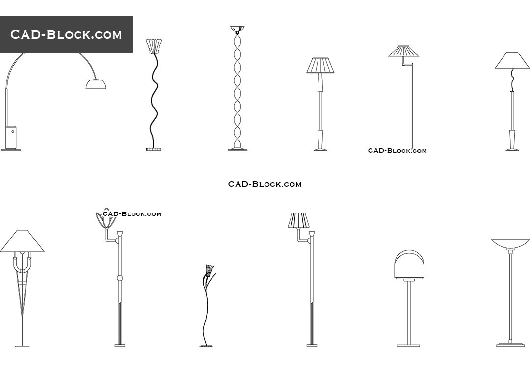 Floor lamps - CAD Blocks, AutoCAD file