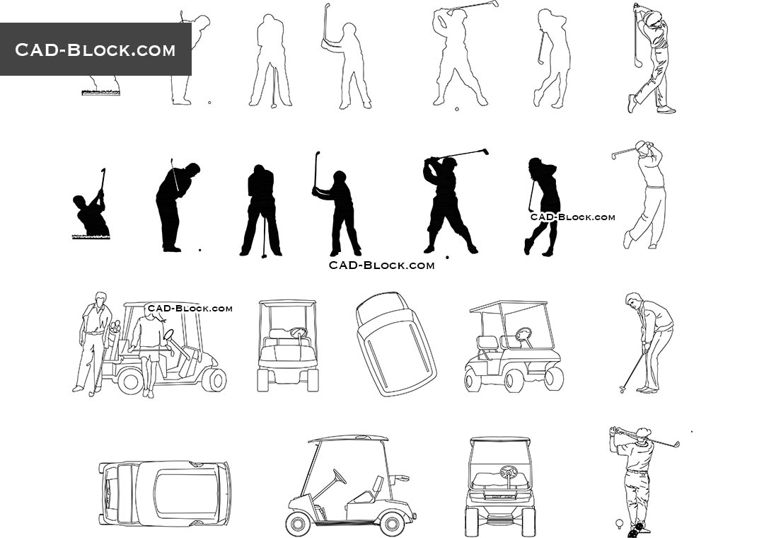 Silhouettes Of Golfers People Playing Golf Cad Blocks In Autocad 2007