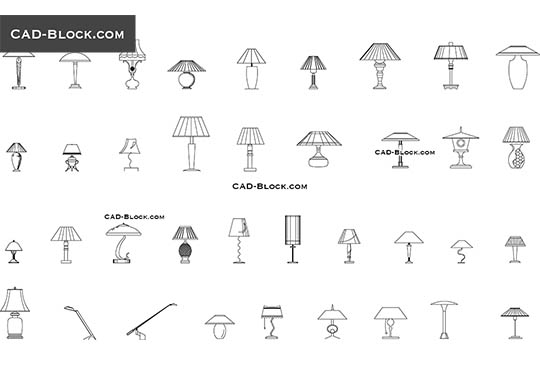 Table lamps - download free CAD Block