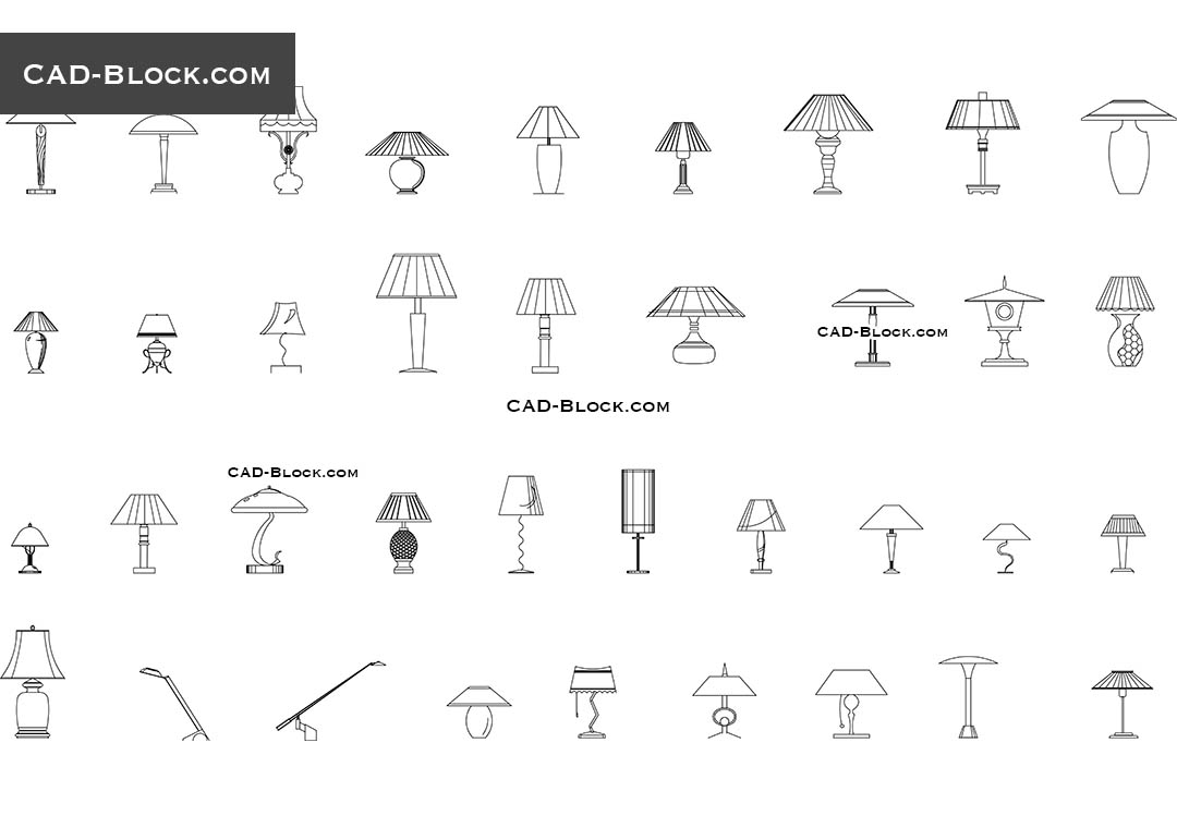 Wall Light Cad Blocks Free Download : Table lamps CAD Blocks free download