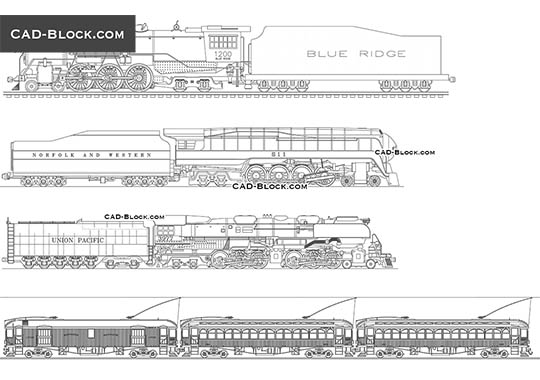 Trains - download free CAD Block
