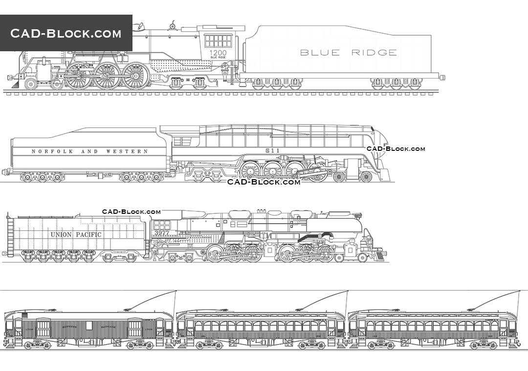 Download CAD Blocks carriages and locomotives for AutoCAD 2004 and later version