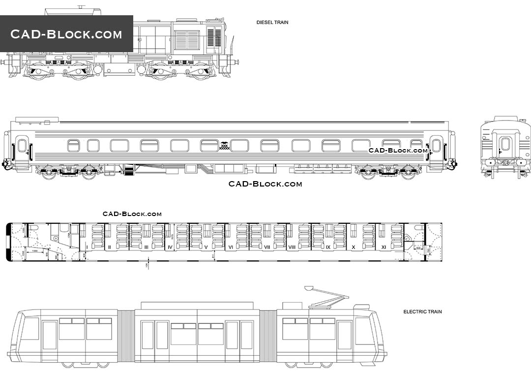 Locomotives, Passenger train cars, free CAD Blocks