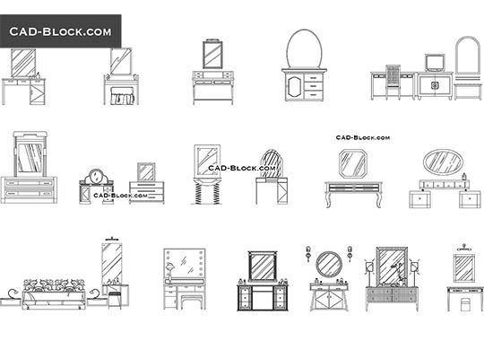 Dressing tables - download free CAD Block