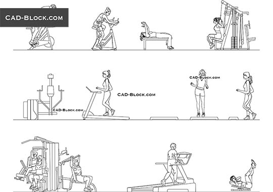 People at the gym - download free CAD Block