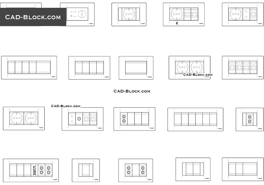 Sockets, switches - CAD Blocks, AutoCAD file