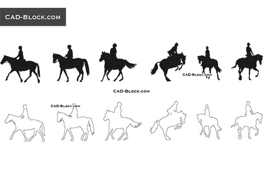 Horse riding - download free CAD Block
