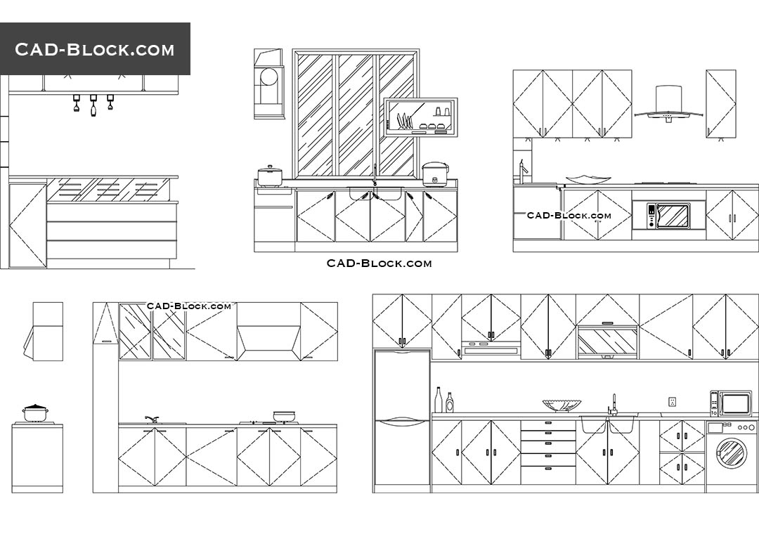 Kitchen Plan Elevation View : Kitchen elevation dwg cad blocks free