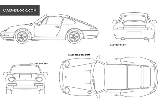 Porsche Carrera (1997) - download free CAD Block