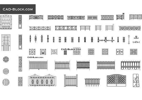 Wrought iron fences - download free CAD Block