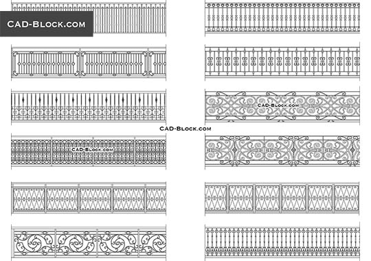Wrought iron railing - download free CAD Block
