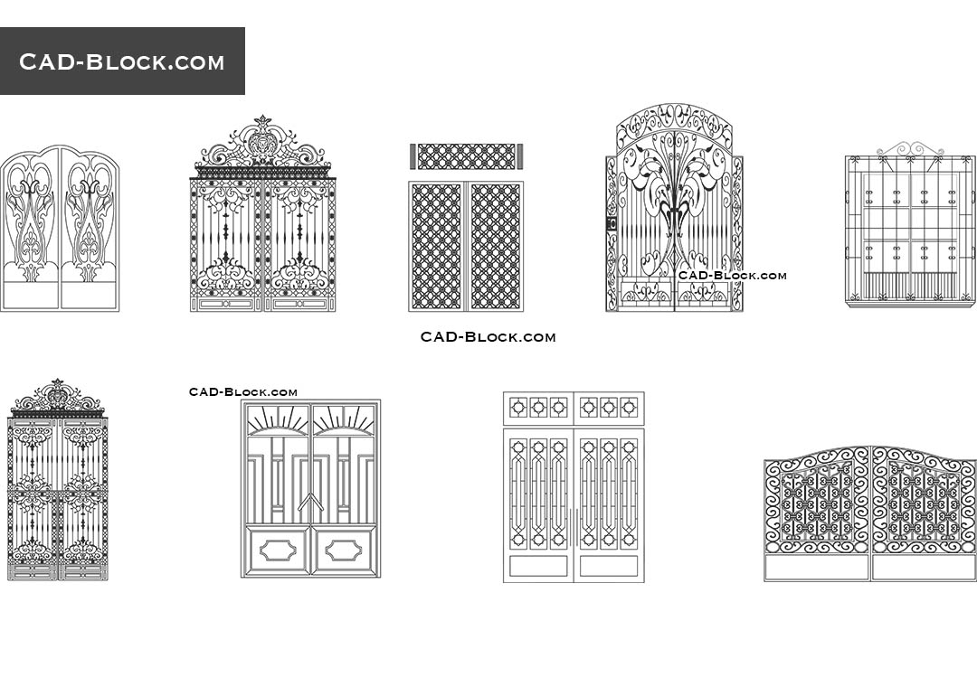 Wrought Iron Gates 187 Cad Blocks Free Download