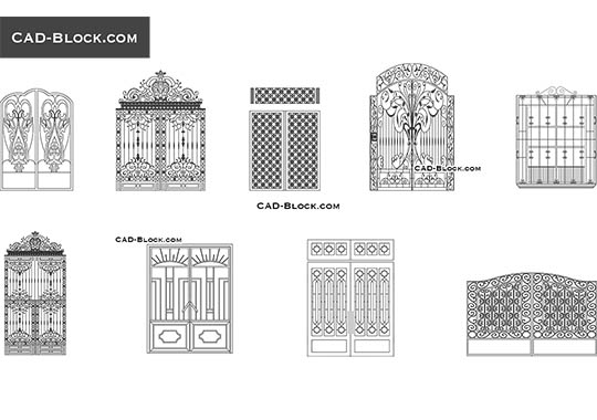 Wrought iron Gates - download free CAD Block