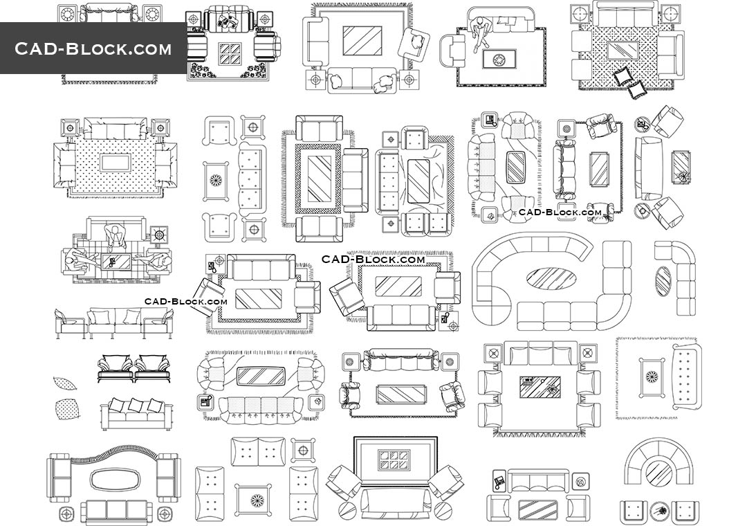 Living room furniture CAD Blocks free