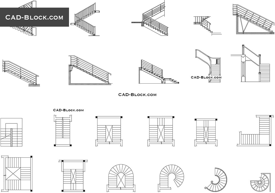 Spiral stairs CAD Block free download, drawings, details, elevation
