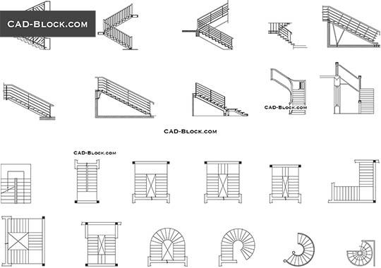 Stairs plan, elevation - free CAD file