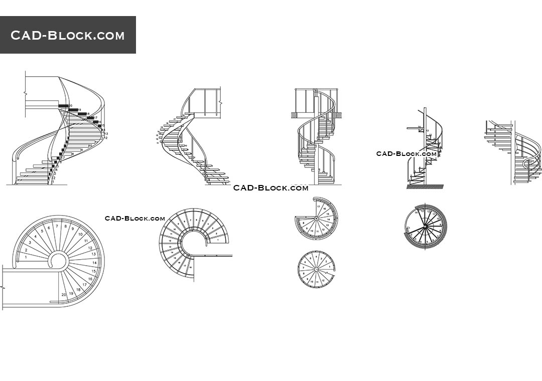 Spiral stairs CAD Block free download, drawings, details