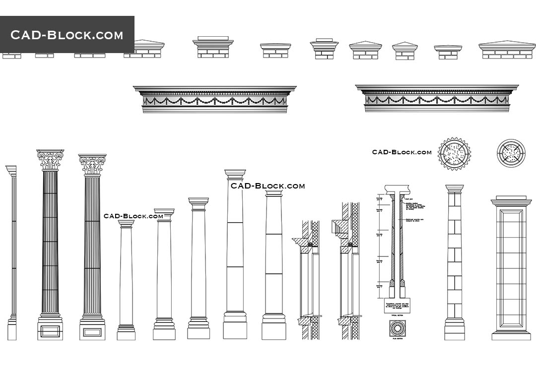 Architectural Details Free Cad Blocks Download Drawings