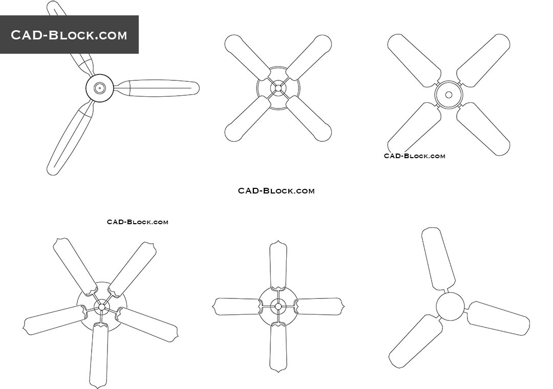 Ceiling fans CAD Blocks in plan, DWG models