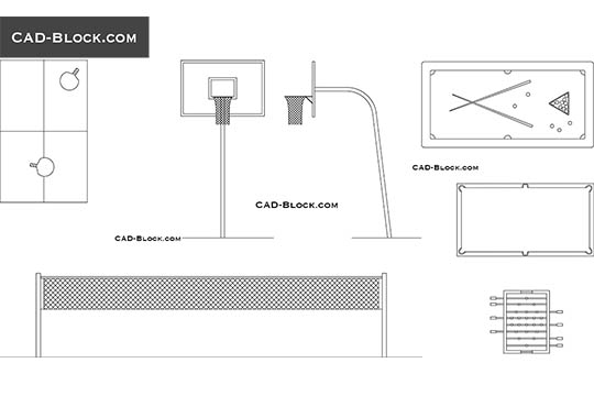 Sports equipment - download free CAD Block