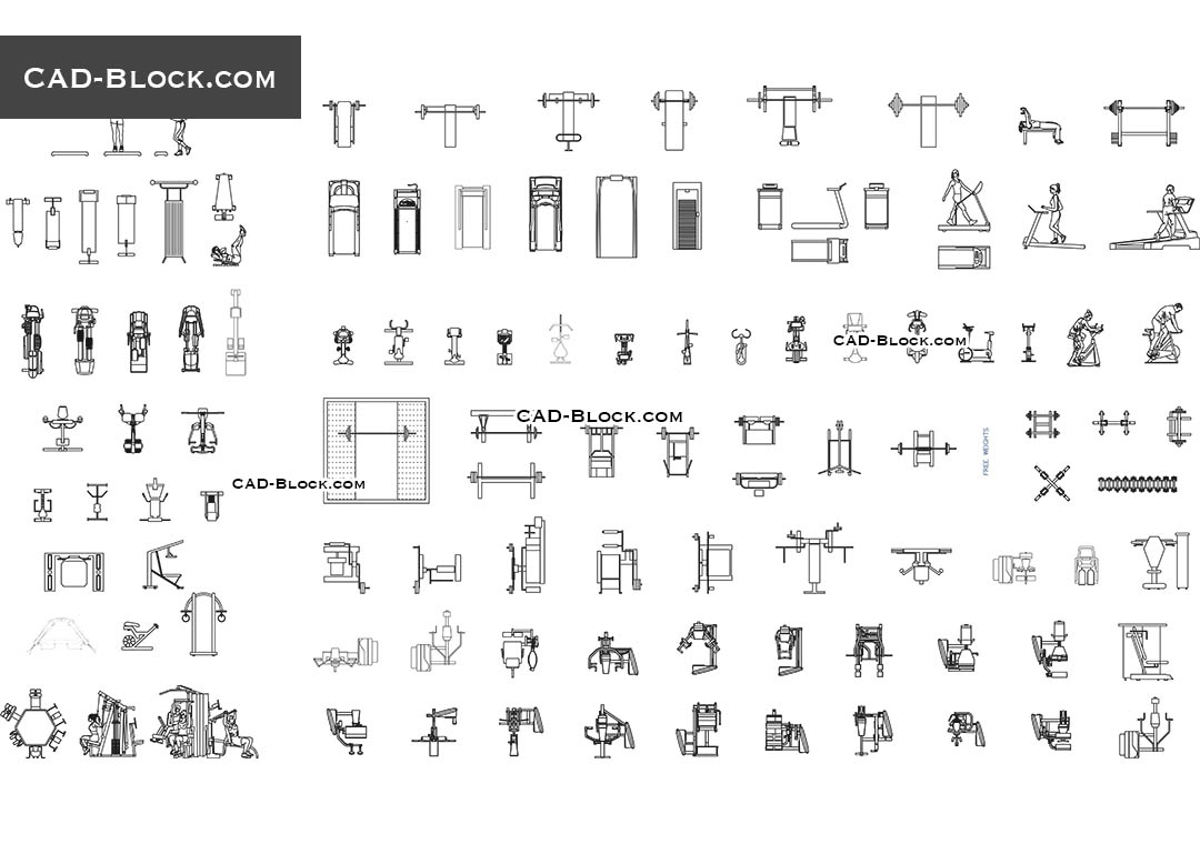 Gym Equipment Cad Blocks Download