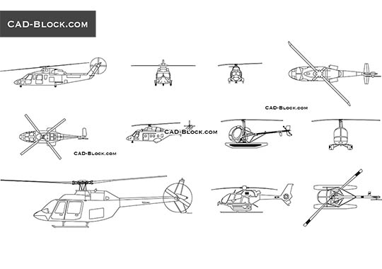 Helicopters - download free CAD Block