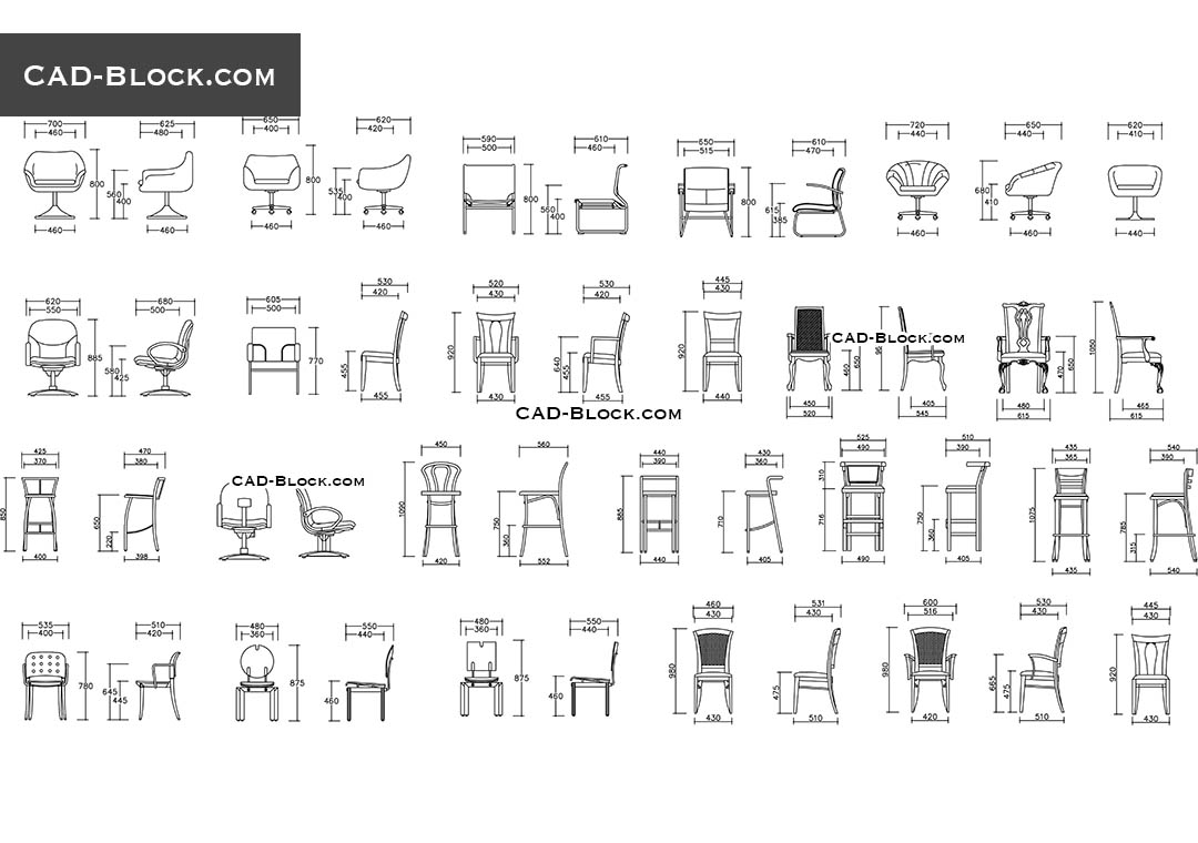 Chairs Elevation Cad Blocks Free Download