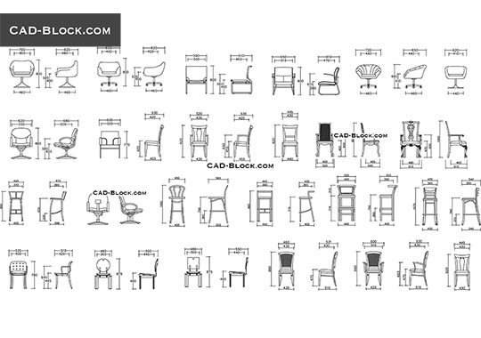 Chairs elevation - download free CAD Block
