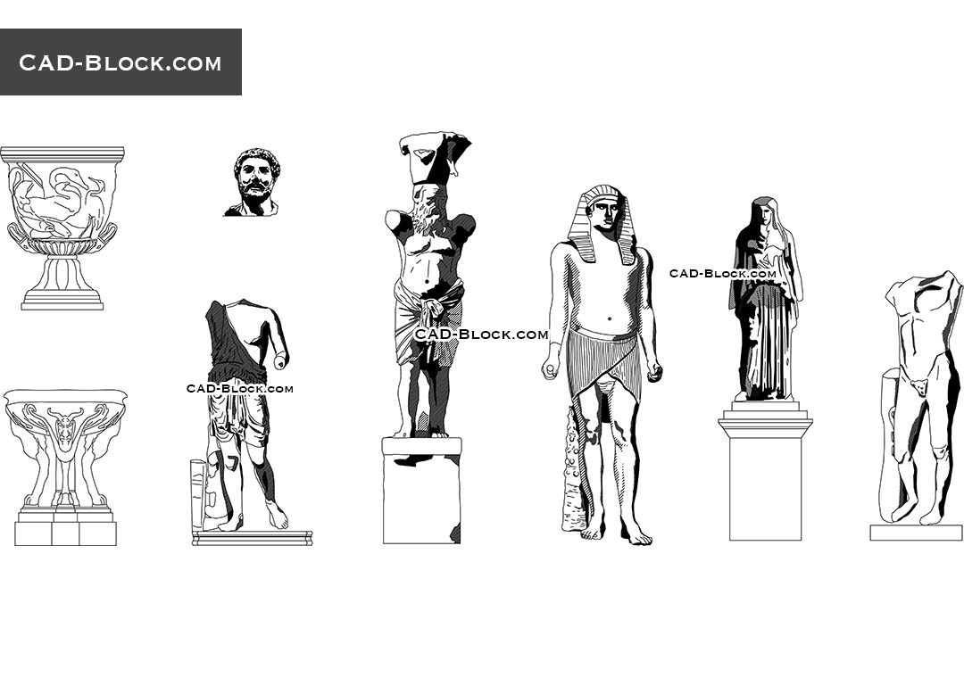 Statues CAD Blocks free download