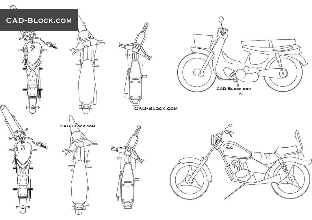 Motorcycles - CAD Blocks, AutoCAD file