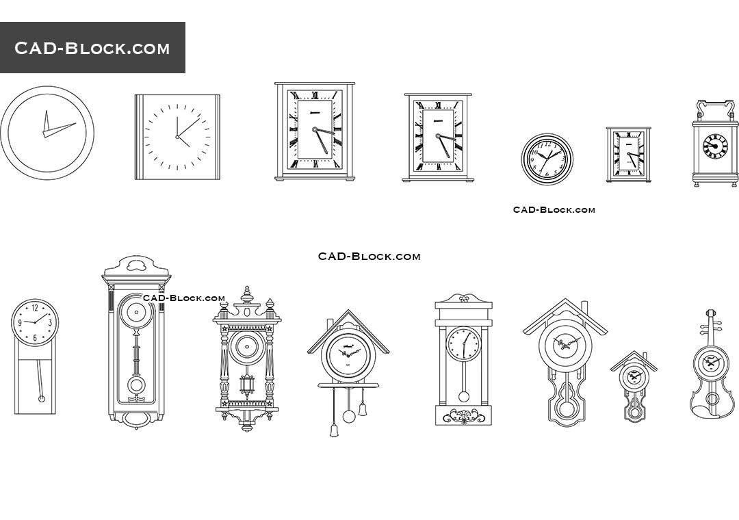 Wall Clocks - CAD Blocks, AutoCAD file