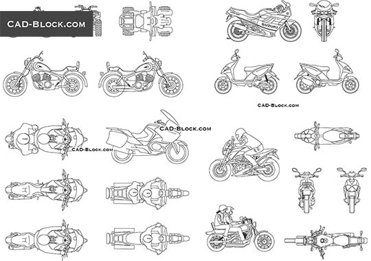 Motorbikes - download free CAD Block