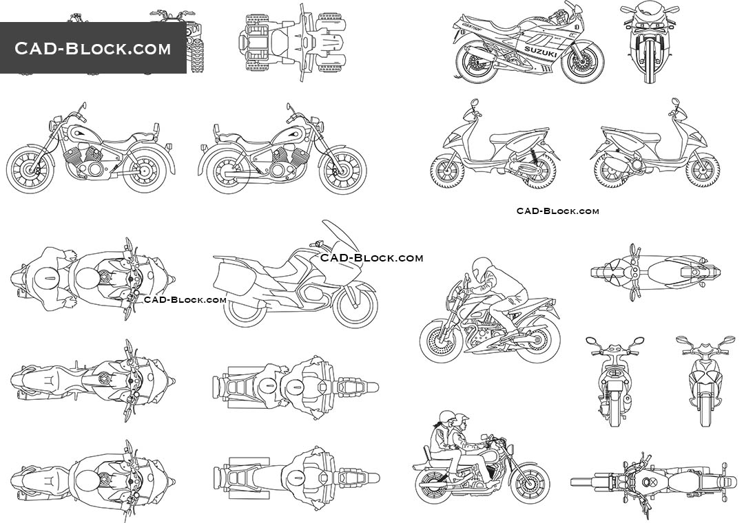 Motorbikes - CAD Blocks, AutoCAD file
