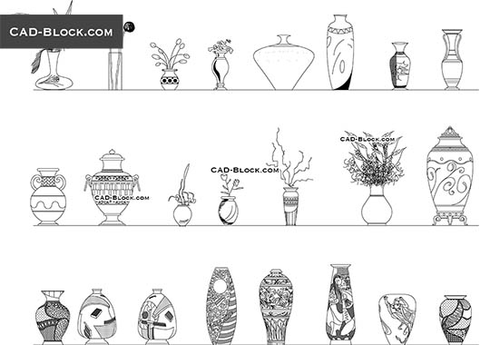 Vases - download free CAD Block