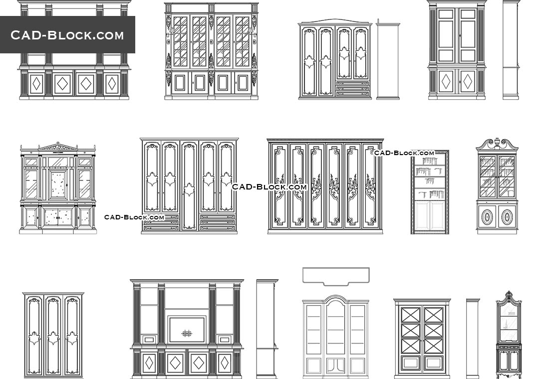Bookcases Cad Blocks Free Download