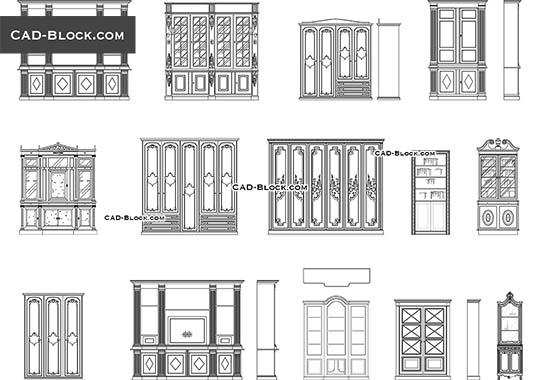 Bookcases - download free CAD Block