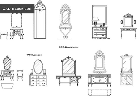 Dressers with mirrors - download free CAD Block