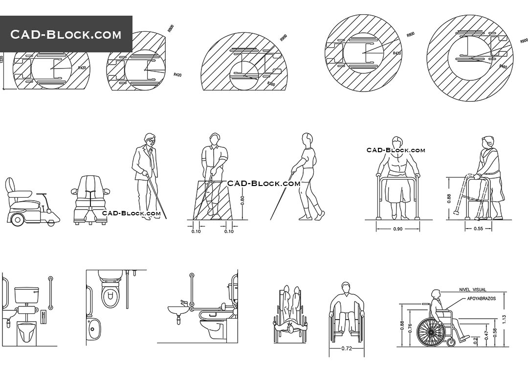 disabled people cad blocks download