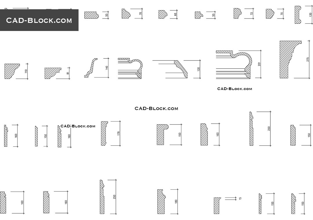 Cornices CAD Blocks Free Download