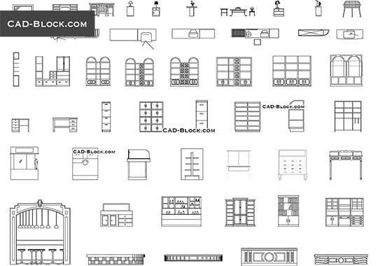 Bookshelves Cad Blocks