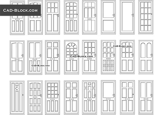 Doors elevation - download free CAD Block